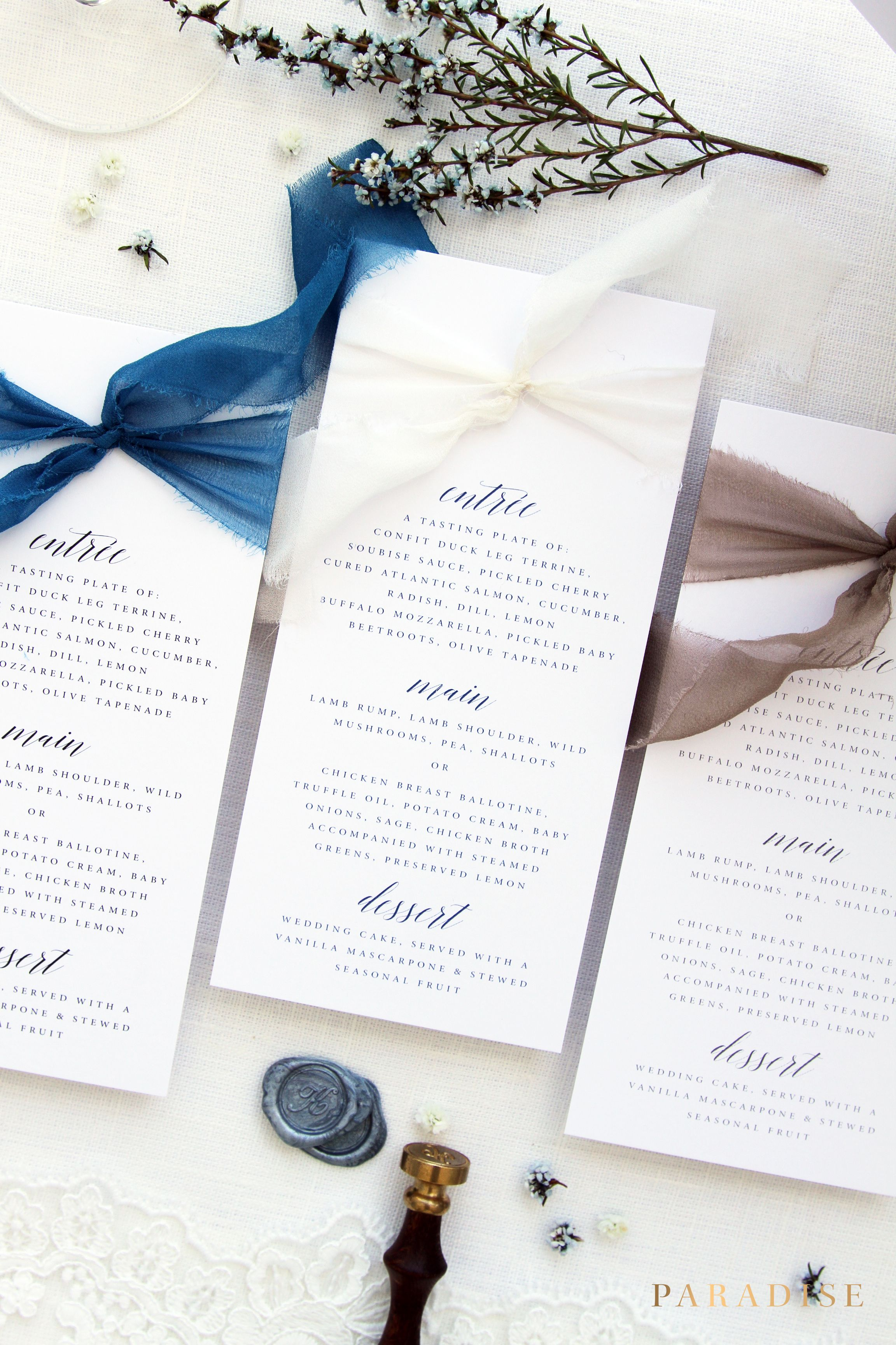 Francesca Silk Ribbon Menus Taupe Cobalt And White Printable