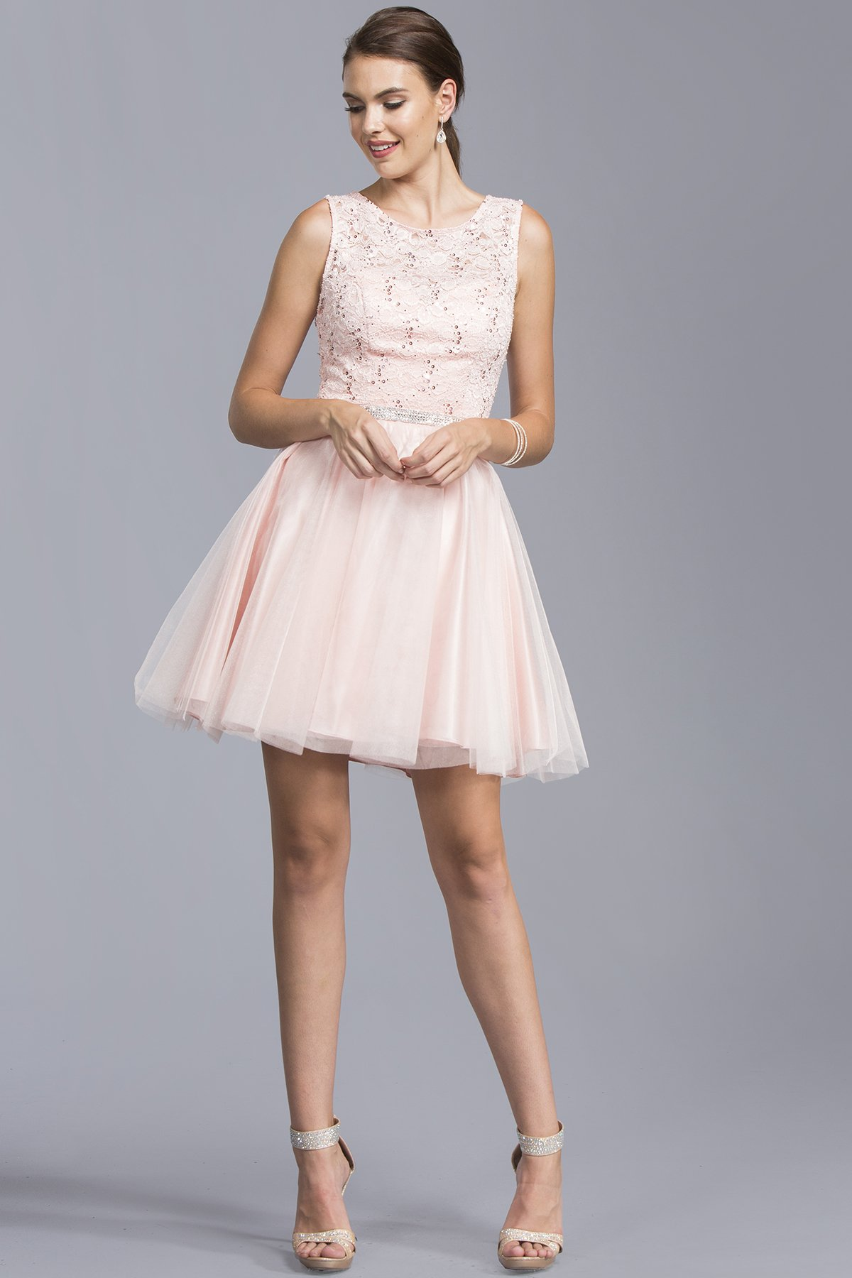 Bateau beautiful short dresses with jewels apd in products