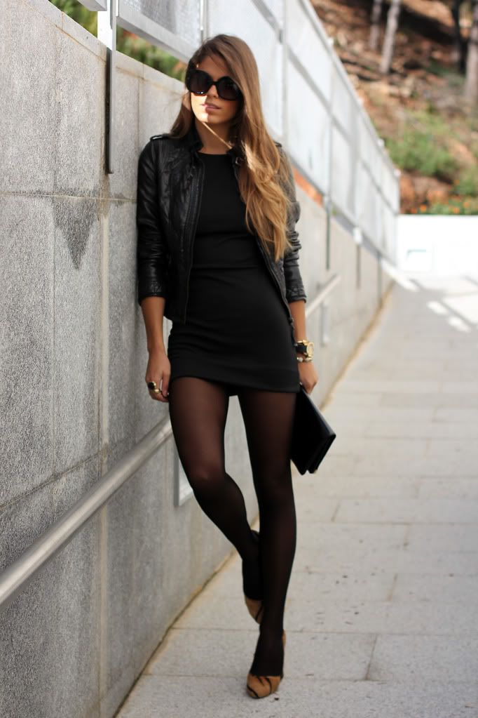 Hosiery quickly changes the look of a little black dress -- depending on the color, thickness and pattern of the tights, pantyhose or leggings you wear. Picking the right hosiery includes considering the type of event, the time of day and the weather.