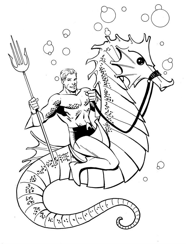 Aquaman Was Riding A Sea Horse | Aquaman Coloring Pages | Pinterest