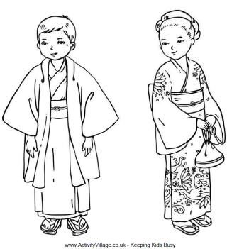 Thinking Day Japanese Children Colouring Page Japanese Culture