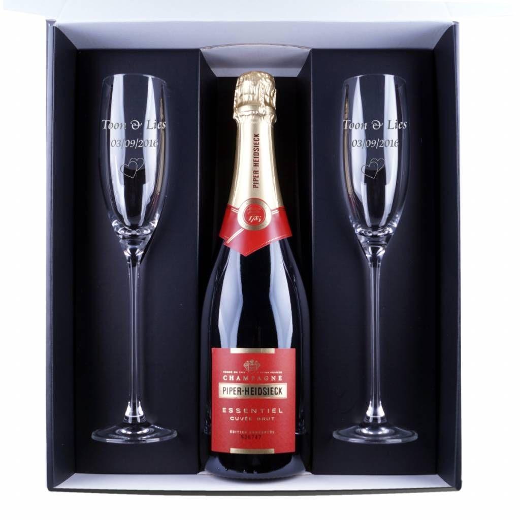 Champagne Cadeau Set Piper Heidsieck Met Gegraveerde Glazen