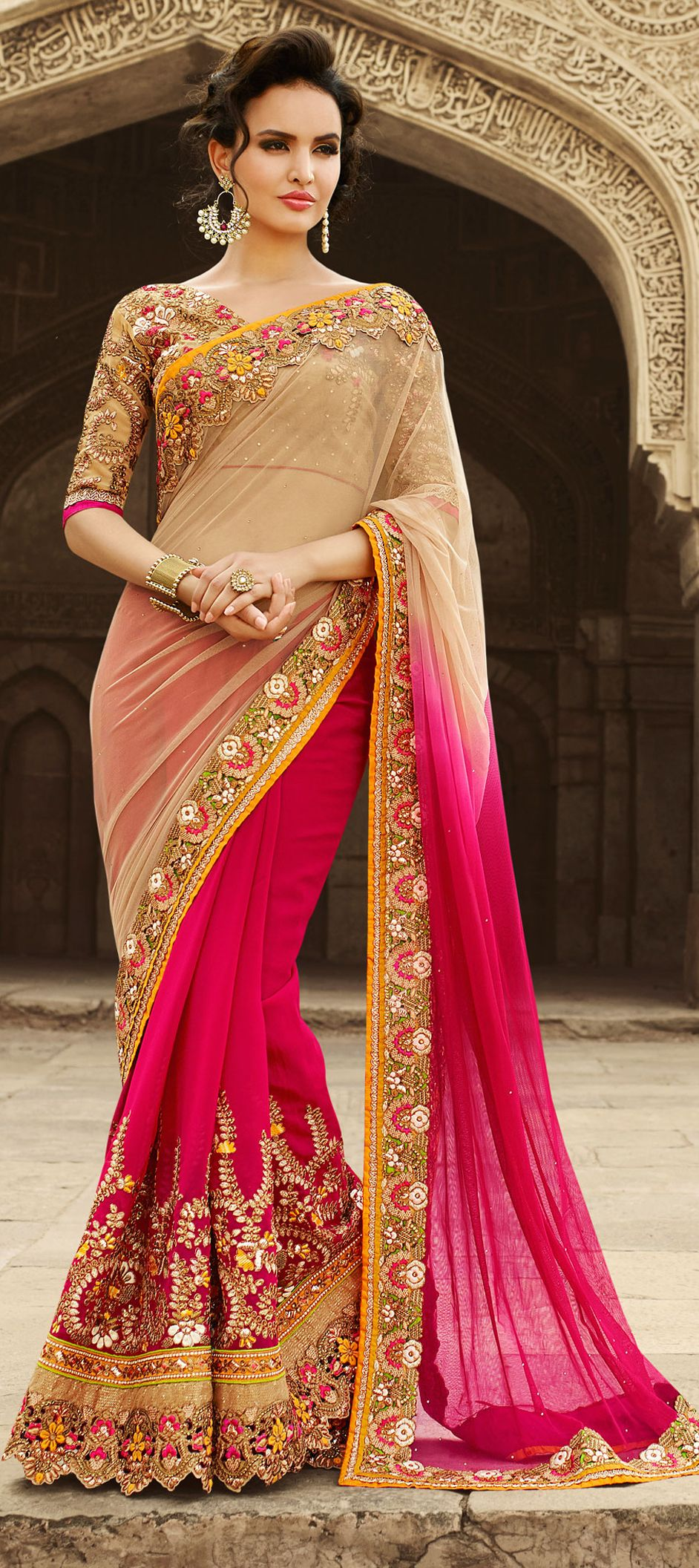 a04a759f54aaa7 180744: Beige and Brown, Pink and Majenta color family Bridal Wedding Sarees  with matching unstitched blouse.