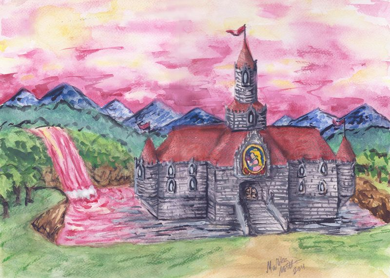 Princess Peach Castle Art Painting Princess Peach