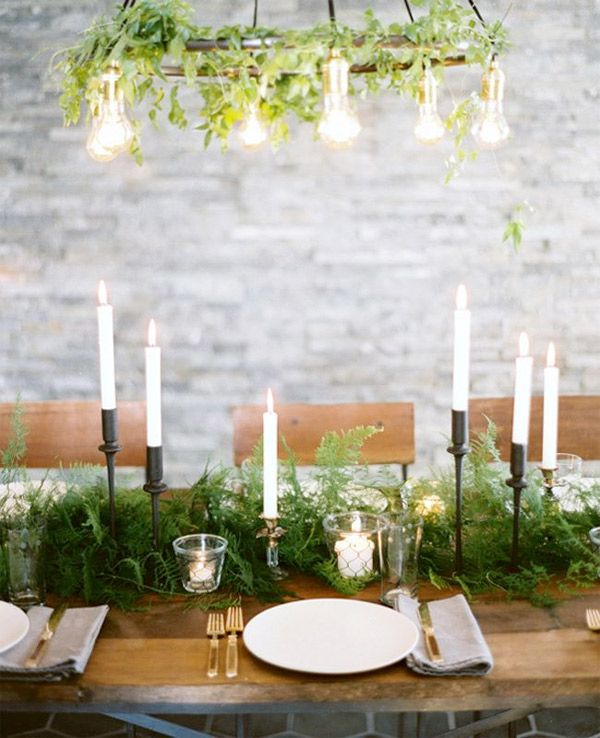 Modern minimalist wedding tablescape with wooden features ferns kathys cottage budget wedding and bridal shower centerpieces junglespirit Image collections