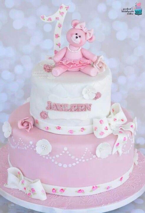 Girls Birthday Cake Pink Teddy Bear