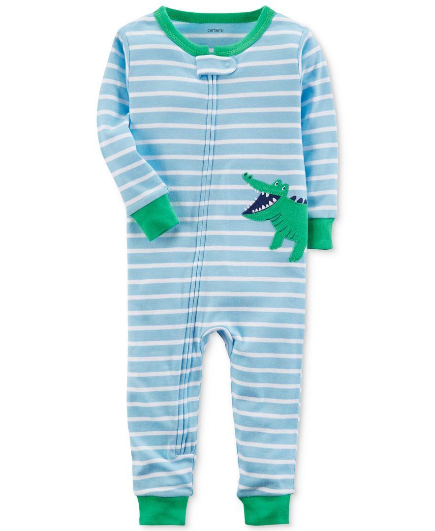 656233ead74a A wraparound alligator applique turns these soft striped cotton ...