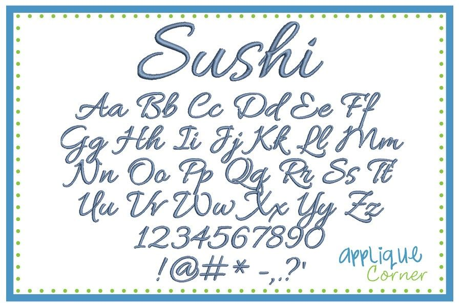 Sushi Embroidery Font