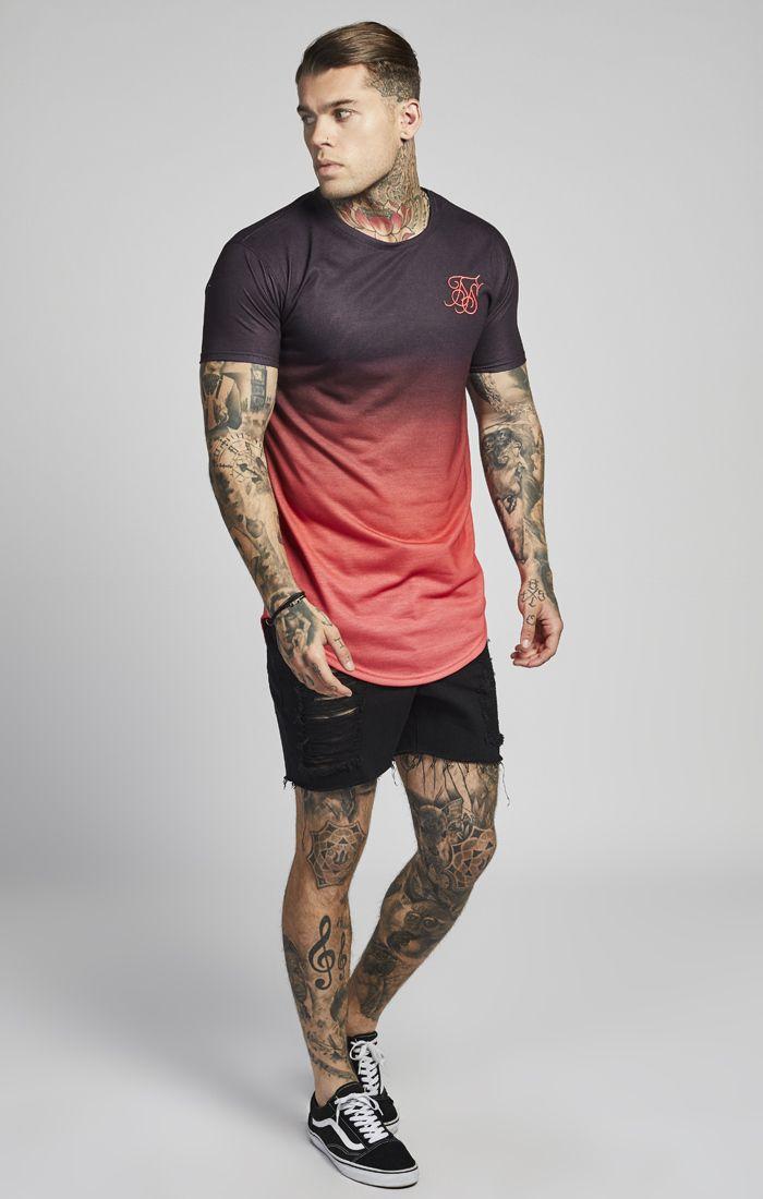 Camiseta SIKSILK Negro Degradado Rojo  d30faccb24f