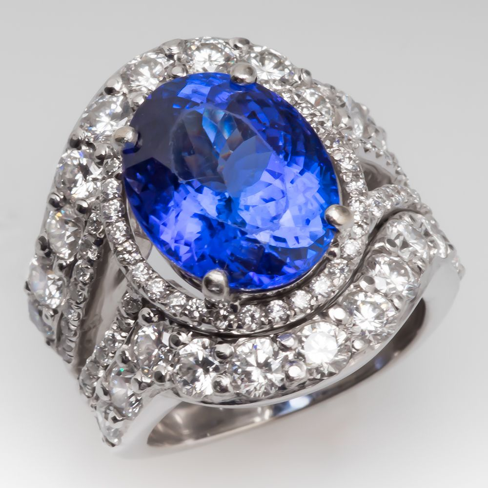 of bands in carat ring gold with tw white diamonds tanzanite