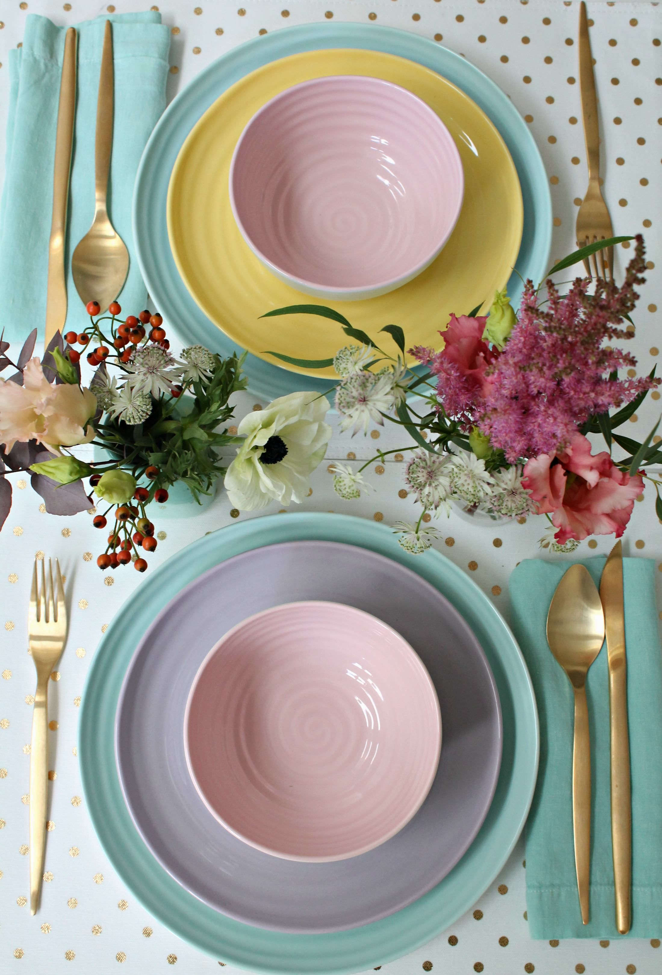 Sophie conran for portmeirion colour pop tableware range is a delight of pretty pastel hues in plates bowls and cups for your home
