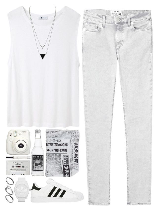 """""""116. white"""" by trxndsplash ❤ liked on Polyvore featuring T By Alexander Wang, Acne Studios, Fornasetti, adidas, House of Harlow 1960, CASSETTE, Chloé and Pilgrim"""