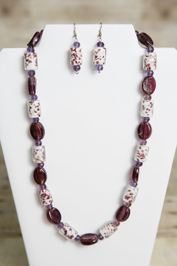 Purple And White Lampwork Beaded Necklace By Jewelrystyleandmore