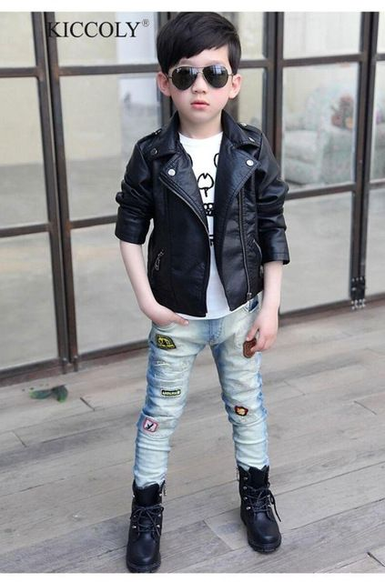 a5be70adf Good price Baby Boys Faux Leather Jacket Kids Girls And Coats Spring ...