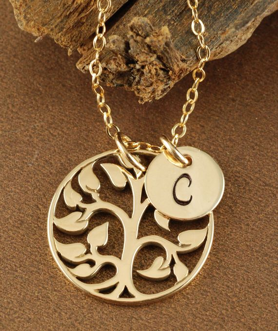 Gold Tone Tree and Initials Necklace