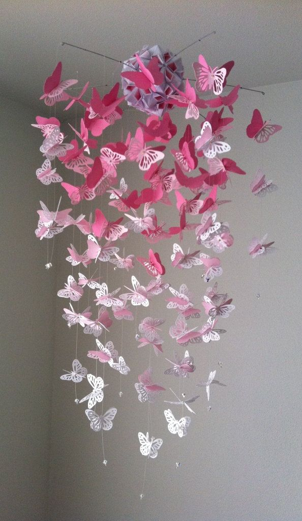 Monarch butterfly chandelier mobile pink and white mix 4500 via monarch butterfly chandelier mobile pink and white mix 4500 via etsy aloadofball Image collections