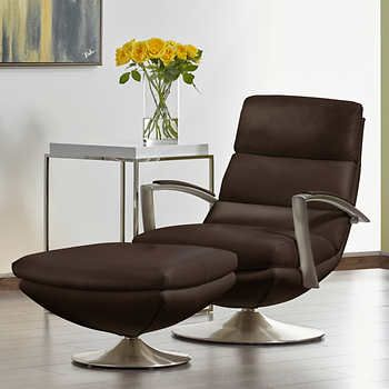 Costco.ca Blauman Brown Top Grain Leather Swivel Chair With Ottoman