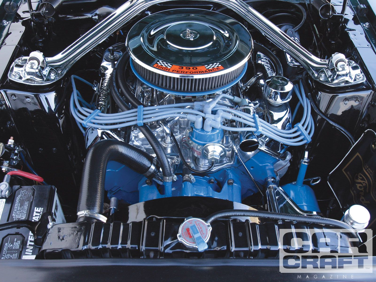 Ford 390 Engine Full View Of A Stock 390 Ford Mustang Fastback