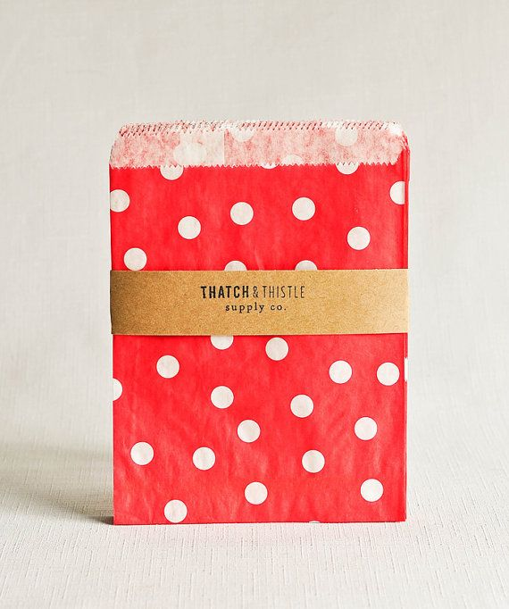 Paper Bags In Red Polka Dots Set Of 20 5x7 Party Favor Kraft Gift