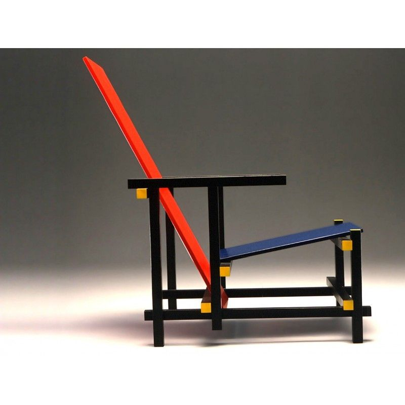 Red and blue gerrit rietveld bauhaus stuhl bauhaus for Stuhl design bauhaus