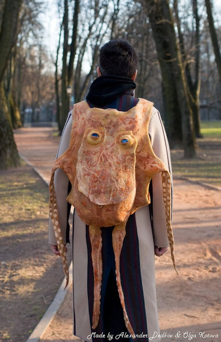Handmade Goofy Grinning Octopus Backpack That Carries Lots of Stuff Inside Its Giant Head