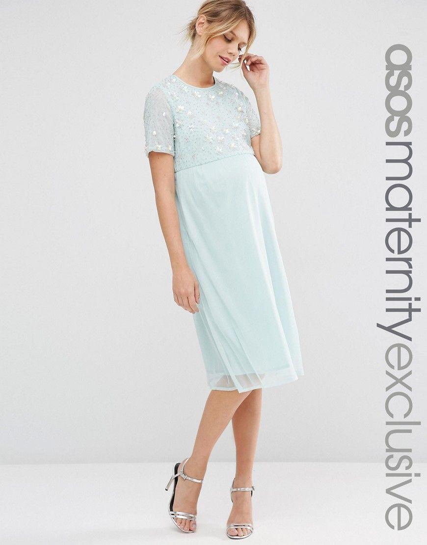 b21296f67c8 ASOS Maternity Pearl Embellished Midi Dress - Pink