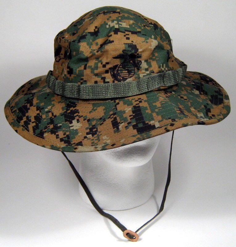 efcde0acc91e5 Usmc us marine corps marpat woodlands boonie hat cap cover w  ega 7 ...