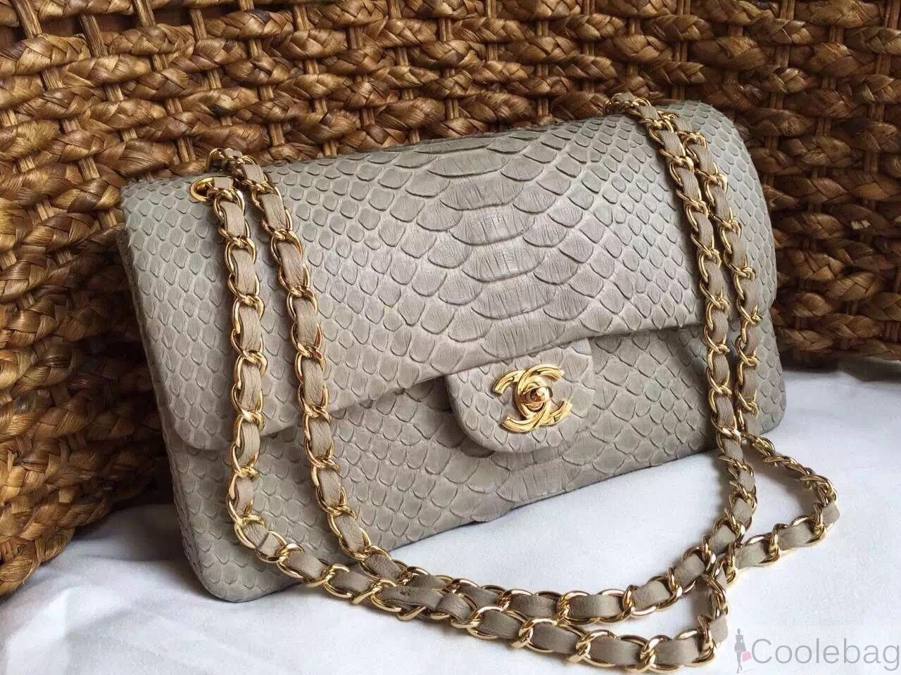 32645807e22a Chanel python flap Bag Slate grey | Chanel handbags | Bags, Chanel ...