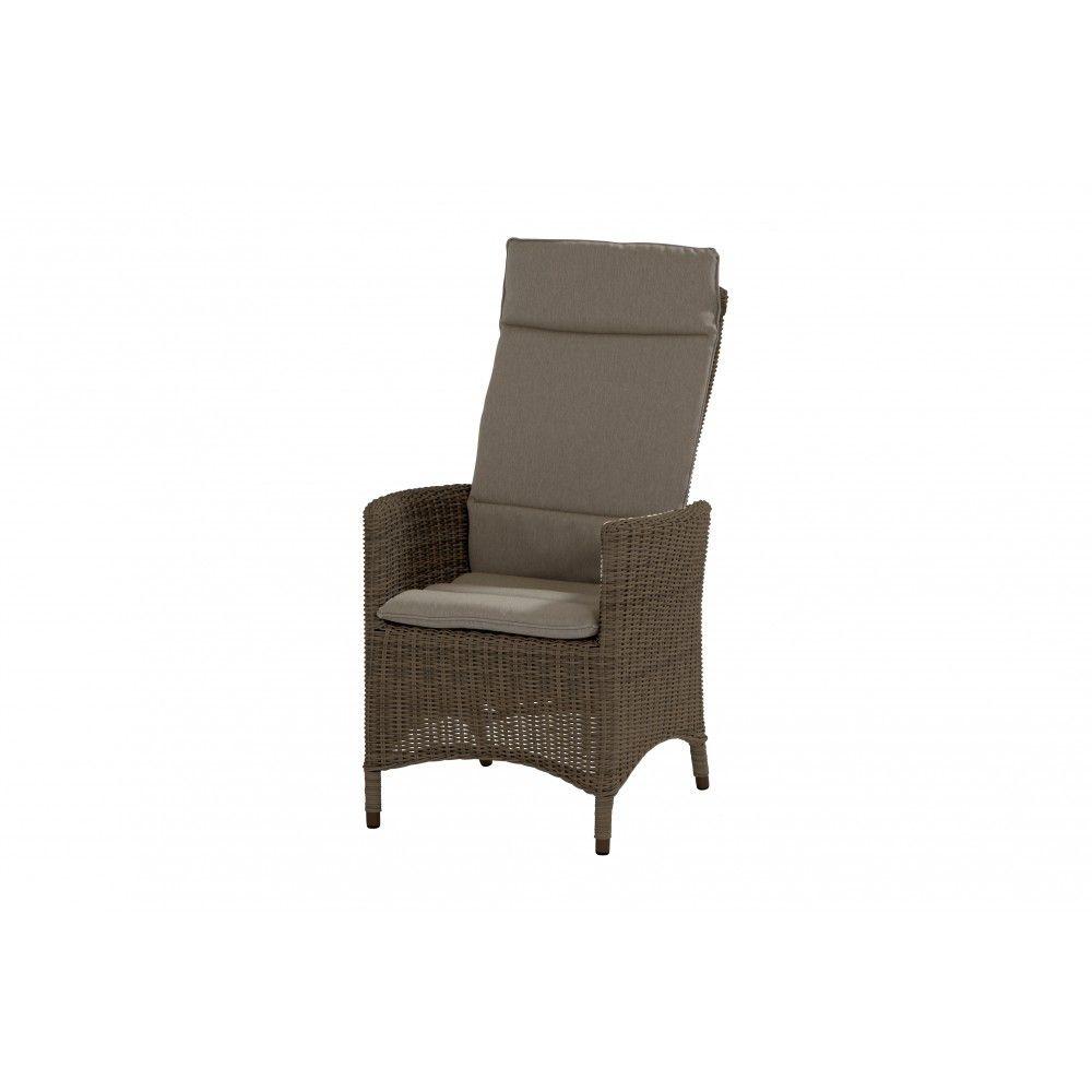 Chaise de jardin brune Bolzano avec dossier réglable, réalisée en ...
