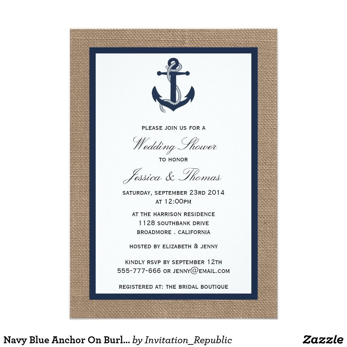 Navy Blue Anchor On Burlap Nautical Wedding Shower Simple Wedding