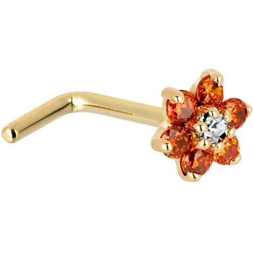 Solid 14KT Yellow Gold Orange and Clear Cubic Zirconia Flower L-Shaped Nose Ring - 18 Gauge Body Candy. $84.99