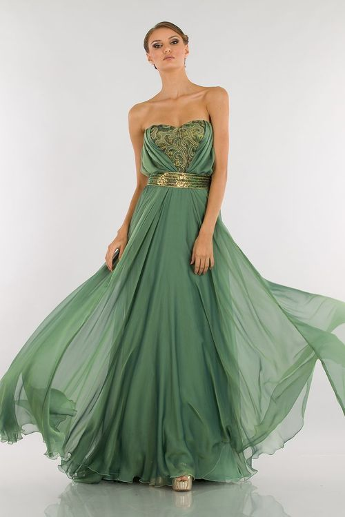 Abed Mahfouz vaporous green and gold dress | Just a pretty dress