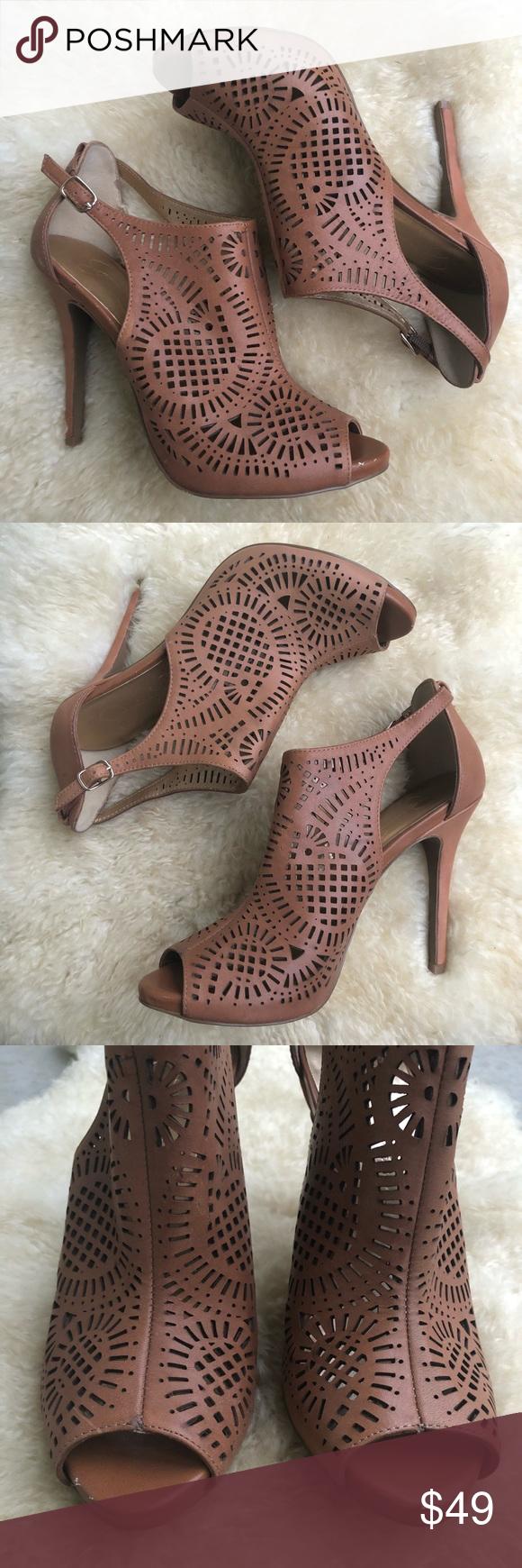 ccd7092d07 Jessica Simpson Arabel laser cutout peep toe heels Laser cut cage ...