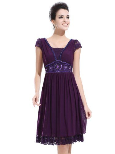 Empire Waist Purple Ruched Lace Cap Sleeve Sequins Cocktail Dress ...