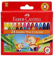 faber castell 24 jumbo wax crayons | wax crayons, faber