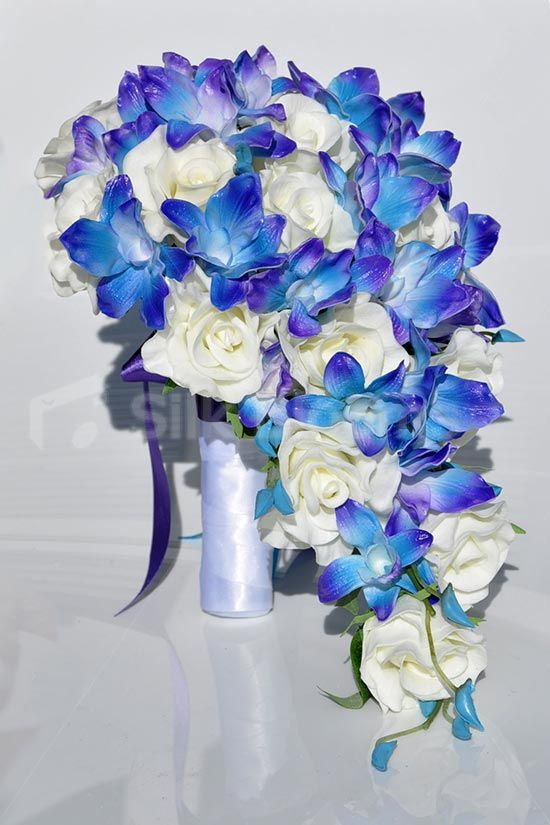 Cascade Orchid Bridal Bouquet : Stunning galaxy blue orchid and ivory rose cascading