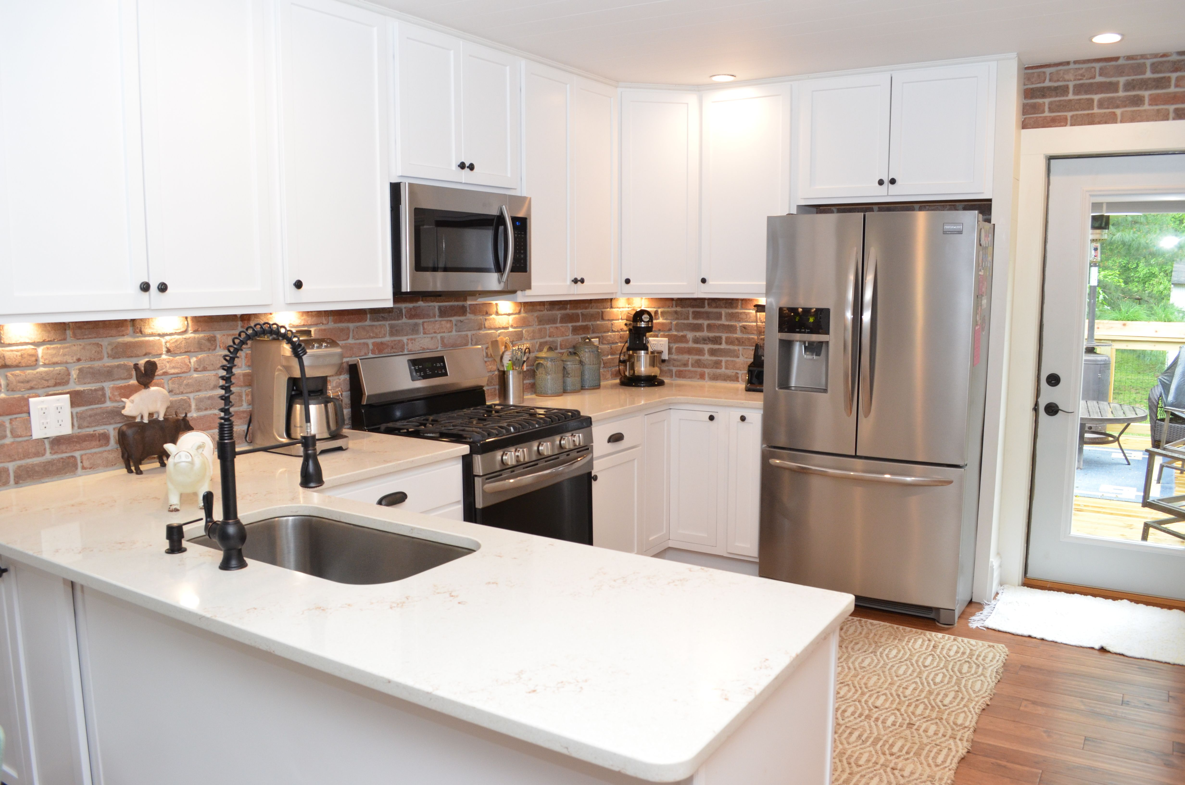 Door Style Hometown Wood Species Maple Finish White C Haas Cabinet Kitchen Cabinetry White Quartz Countertop Quality Cabinets