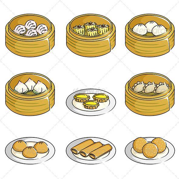 Chinese Dim Sum Icons Dim Sum Food Drawing Food Illustrations