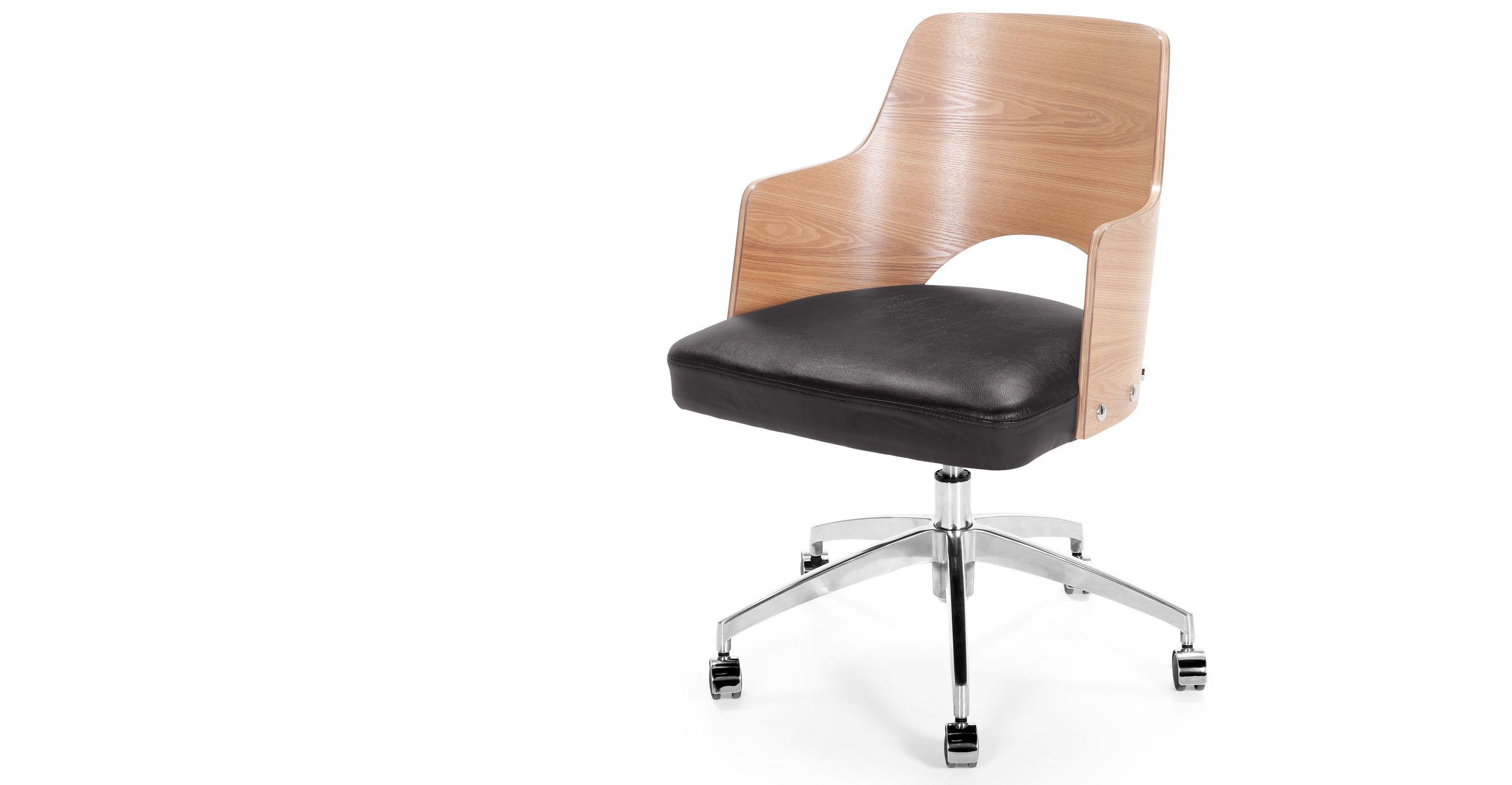 Cornell fauteuil de bureau pivotant noir et frêne chaises bureau