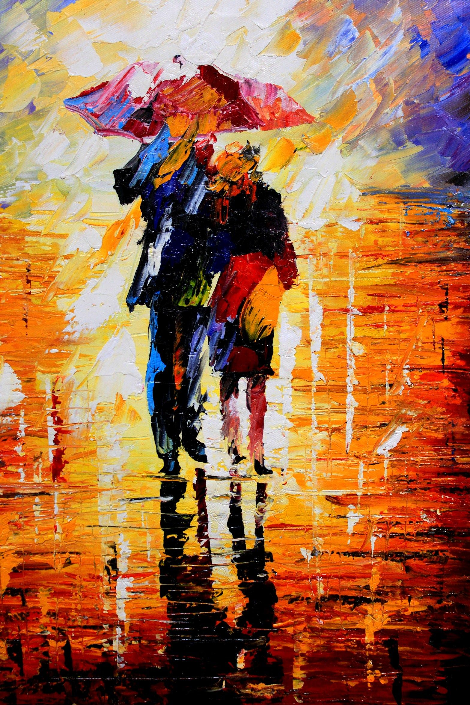 Rainy night oil painting by unknown artist Painting