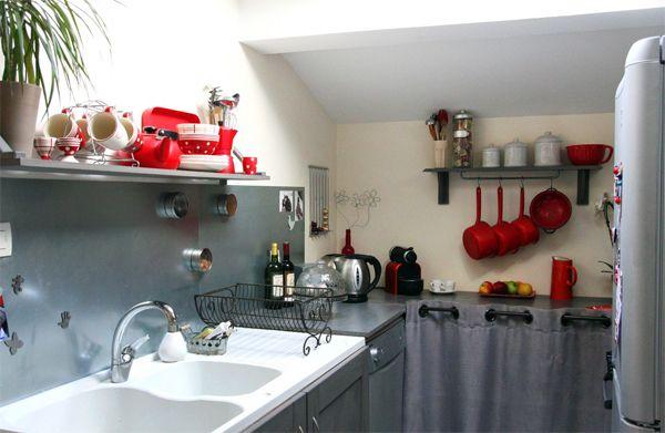 Ma jolie cuisine de campagne grise et rouge inspiration cuisine cuisine campagne cuisine - Cuisine rouge et grise ...
