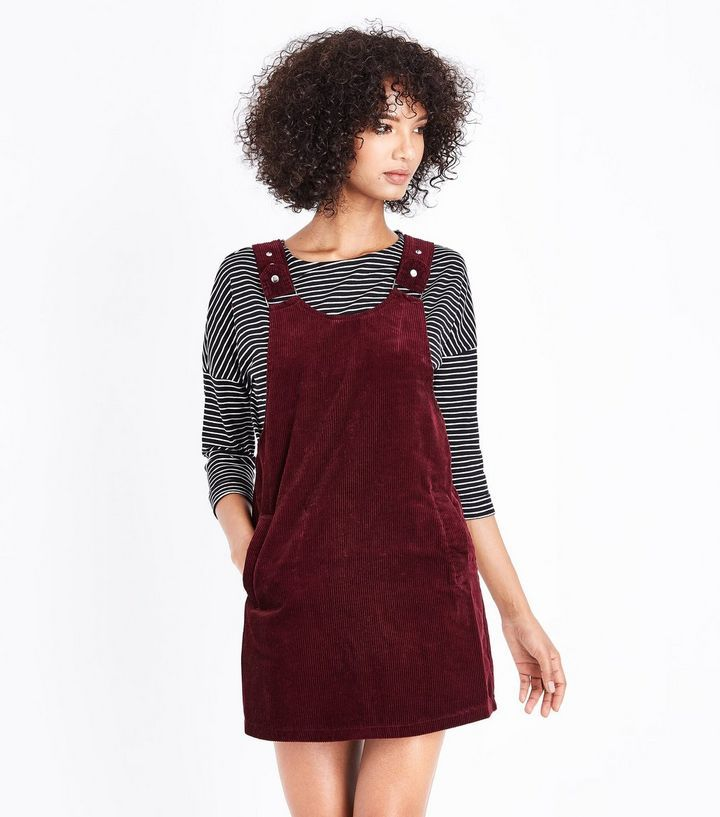 durable service world-wide renown high quality guarantee Burgundy Cord Pinafore Dress | New Look | Fashion | Pinafore ...