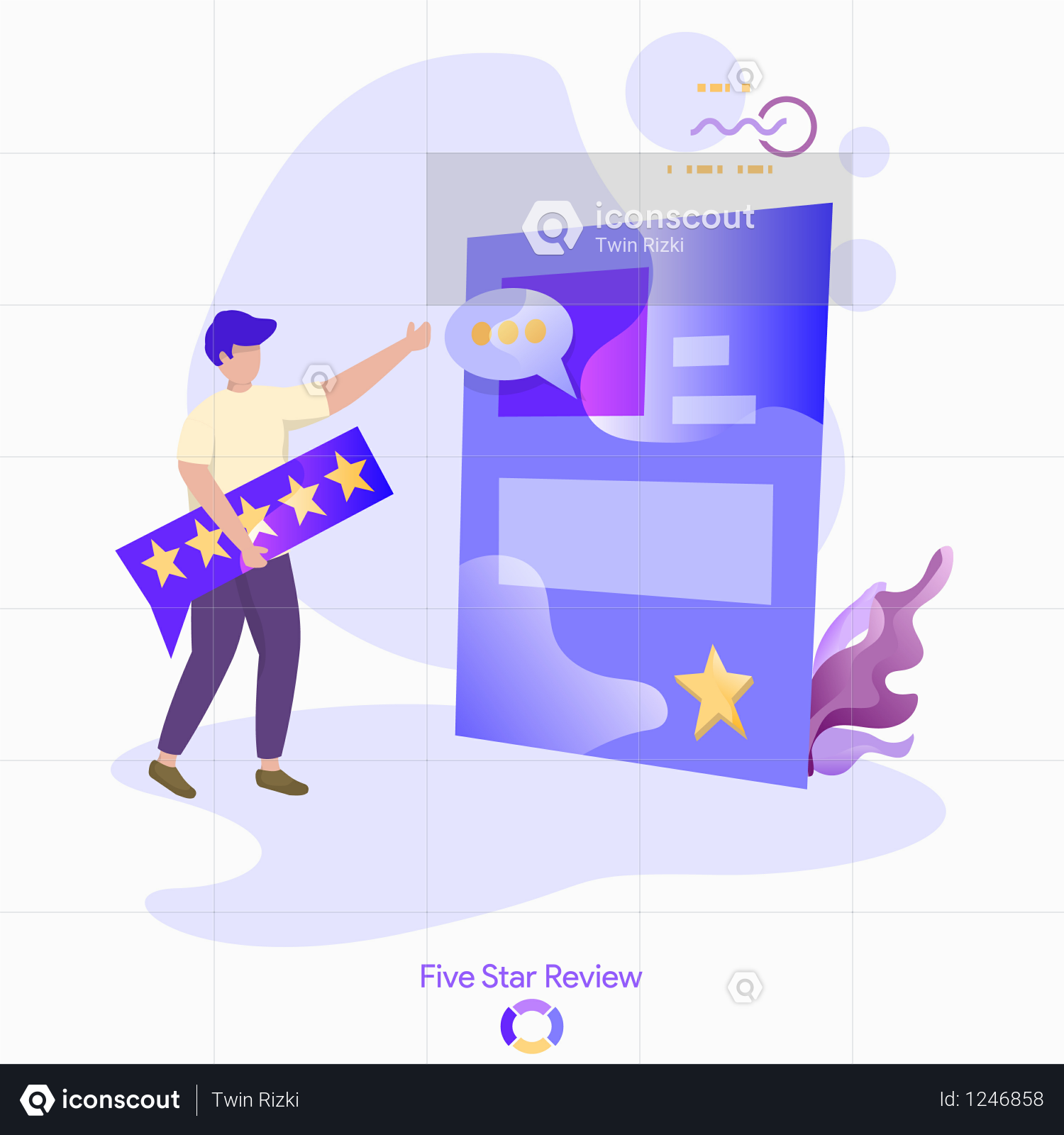 Premium Vector Illustration Of Five Star Review Illustration Download In Png Vector Format Vector Illustration Communication Illustration Illustration