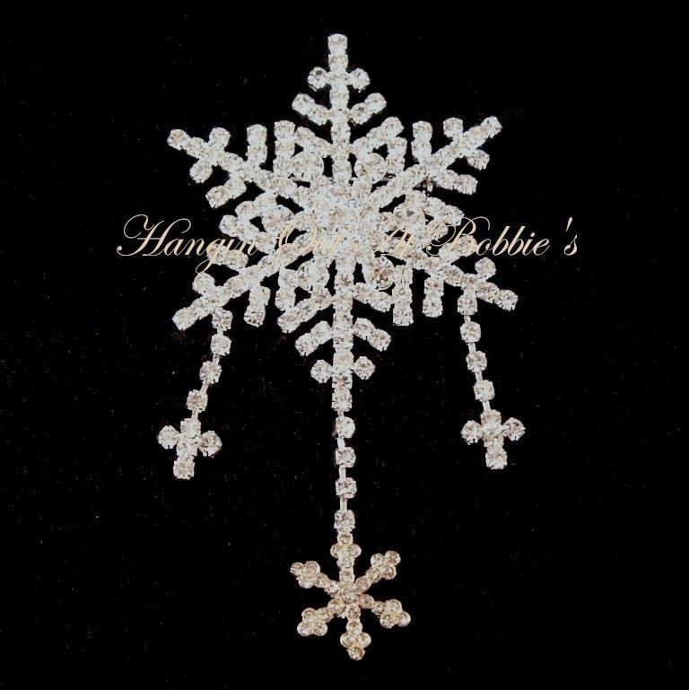 Snowflake Pin Brooch Clear Crystal Silvertone Metal Winter Style 1983 #nobrand