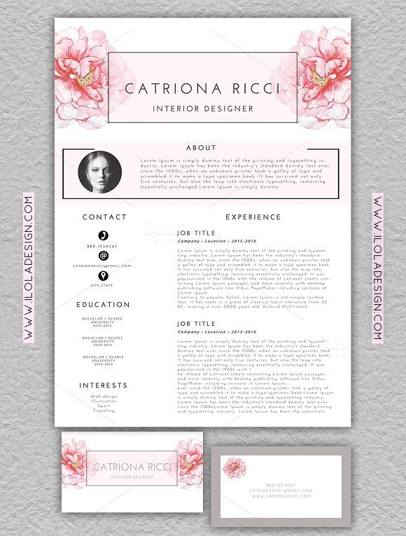 Floral Resume Template/Business Card @creativework247 Templates - example of dental hygientist resume