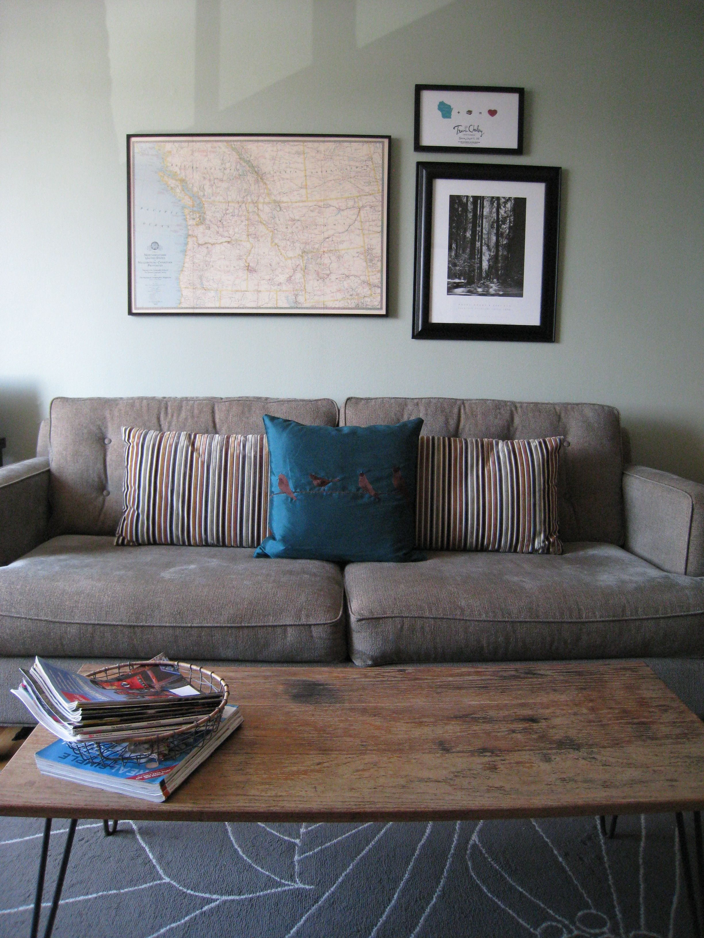 amusing plain white living room | Neutral grayed green-blue | Sherwin Williams Coastal Plain ...