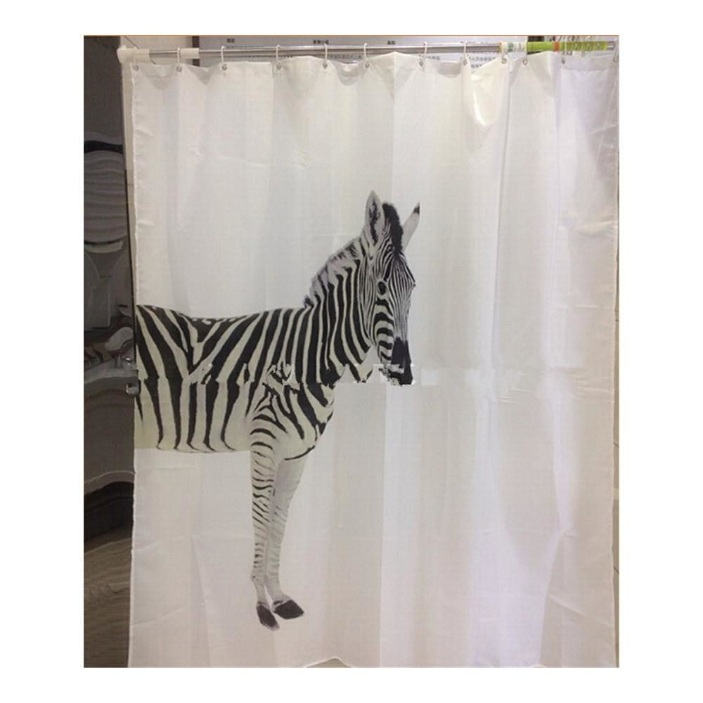 Zebra Waterproof Bathroom Fabric Shower Curtain Liner 12 Hooks In 2020 Fabric Shower Curtains Colorful Shower Curtain Curtains