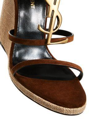 Saint Laurent Women's Cassandra 105 Ysl Wedge Sandals