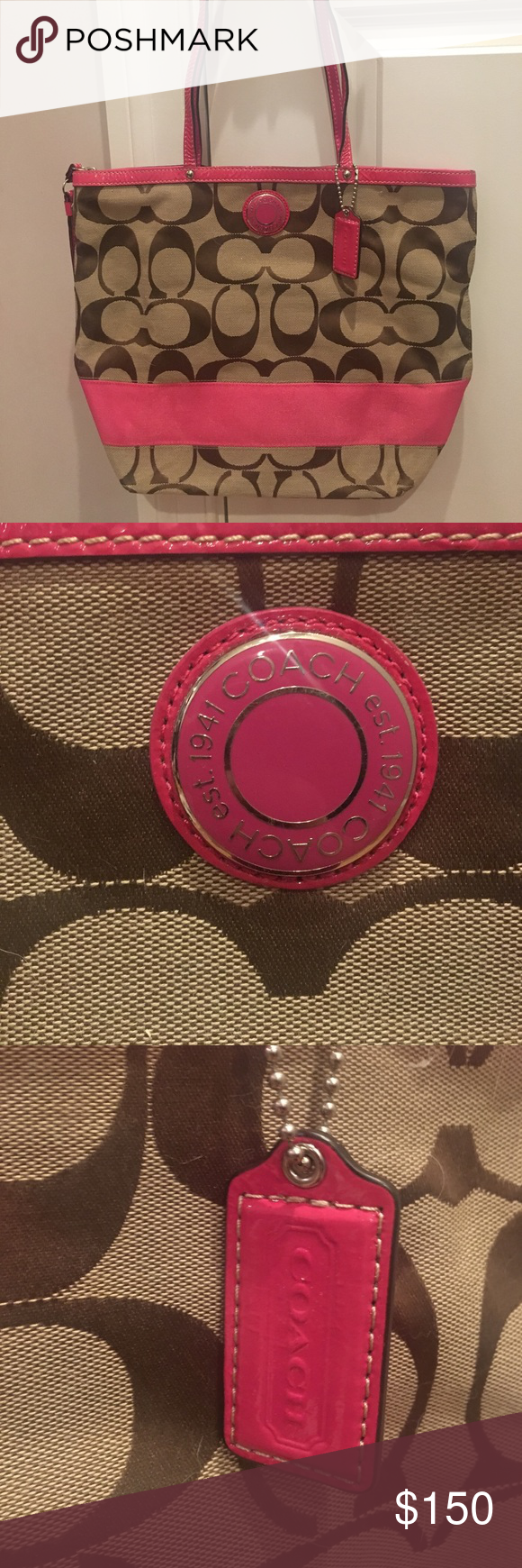 Pink Tan and Brown Coach Bag Genuine Coach bag with dark pink accents and signature logo throughout. Very spacious and in great condition. Straps need to be straightened back out from storage and there are a few small stains on the bottom of the inside of the bag. Coach Bags Totes