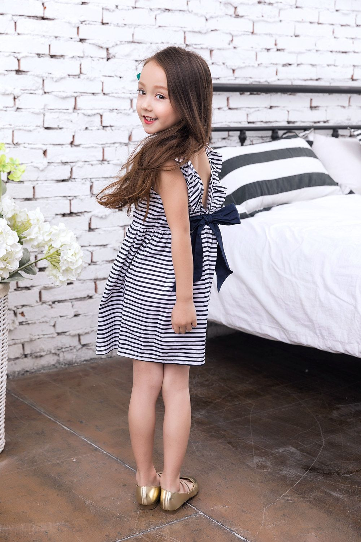 3c2fd3d98b50d Baby Girls Backless Dress Stripes   WOO~Kids Fashion   Dresses, Baby ...